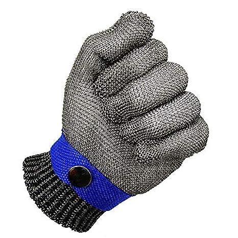 JVSISM Azul Guante De Carnicero De Malla De Acero Inoxidable Resistente A Las Punaladas De Seguridad Proteccion Nivel 5 De Alto Rendimiento Tamano S