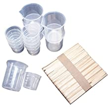 Funshowcase Mix Measuring Cups and Stir Sticks, for Casting Epoxy Resin, Crafting Project or Baking