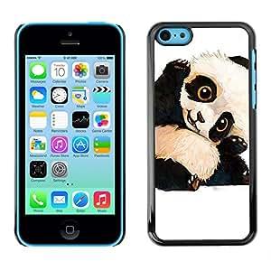 Lindos del bebé del oso de panda para niños hijos de- Metal de aluminio y de plástico duro Caja del teléfono - Negro - iPhone 5C