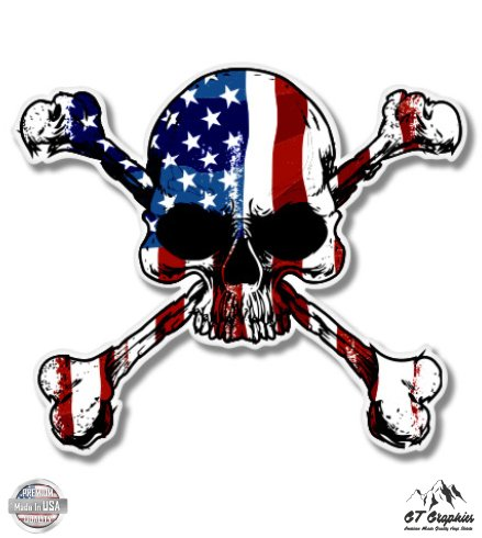 American Flag Skull With Crossbones - 3' Vinyl Sticker - For Car Laptop I-Pad Phone Helmet Hard Hat - Waterproof Decal