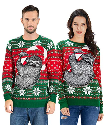 Uideazone Men's Ugly Christmas Sweater Sloth Knit Xmas