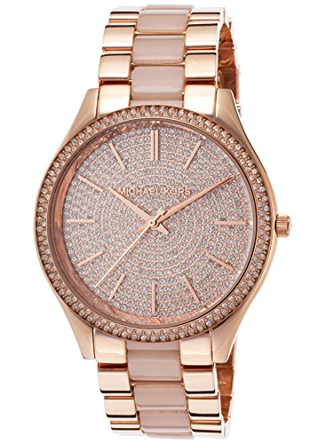 Michael Kors Women's Slim Runway Pave Watch, Blush, One Size by Michael Kors
