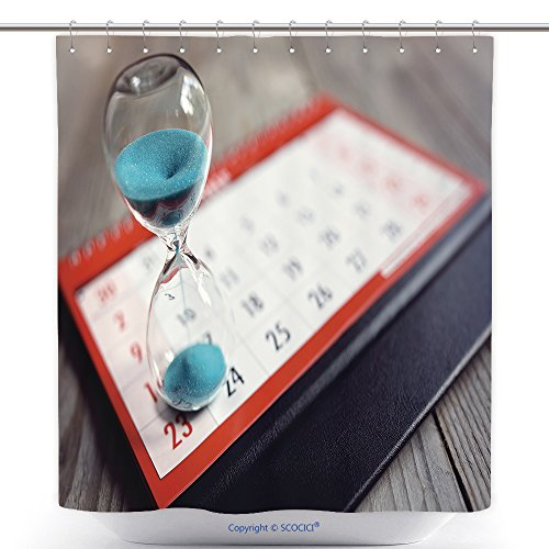 Waterproof Shower Curtains Hour Glass On Calendar Concept For Time Slipping Away For Important Appointment Date Schedule And 491993500 Polyester Bathroom Shower Curtain Set With (Disney Halloween Movies Schedule)