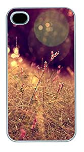 iPhone 4 4s Cases & Covers - Grass Closeup Halo Bokeh Effect Custom PC Soft Case Cover Protector for iPhone 4 4s - White