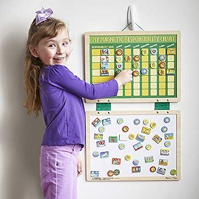 Melissa & Doug Magnetic Responsibility and Chore Chart (Developmental Toys, Encourages Good Behaviour, 90 Pieces, 40.005 cm H x 29.845 cm W x 1.27 cm L): Toys & Games