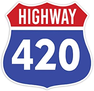 "Highway 420 Weed Cannabis Marijuana - Sticker Decal Notebook Car Laptop 4"" x 5"" (Color)"