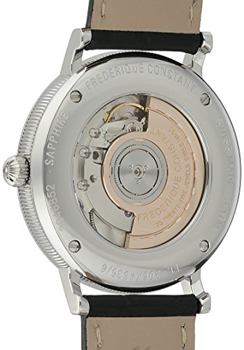 Frederique Constant Men's 'Slim Line' Silver Dial Black Leather Strap Stainless Steel Swiss Automatic Watch  FC-306MC4S36 by Frederique Constant (Image #1)