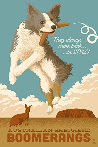 Australian Shepherd - Retro Boomerang Ad (12x18 Art Print, Wall Decor Travel Poster) -  Lantern Press, LANT-55085-12x18