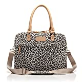 Mingbow® 15-15.6 Inch Laptop Handbag Canvas Fabric Computer Sleeve Case Messenger Bag Briefcase with Shoulder Strap for Macbook Pro/Air Dell HP Lenovo ASUS Acer ThinkPad Samsung (Leopard's Spots Style, 15-15.6 inch)