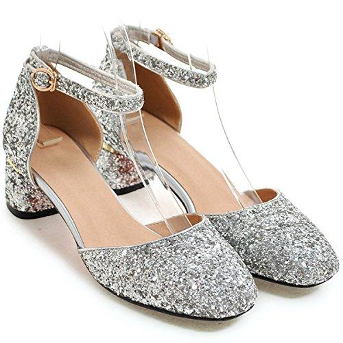 Shoes DoraTasia Low Pumps Bling Pointy Wedding Women's Silver Toe Heel Glitter Strap Block Ankle Party Dress qrqw6Tnpx