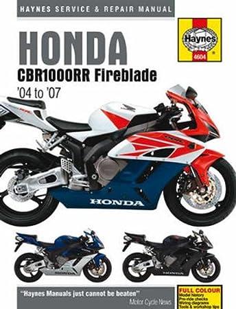 Amazon.com: Haynes Repair Manual for Honda CBR1000RR Fireblade (2004-2007):  AutomotiveAmazon.com