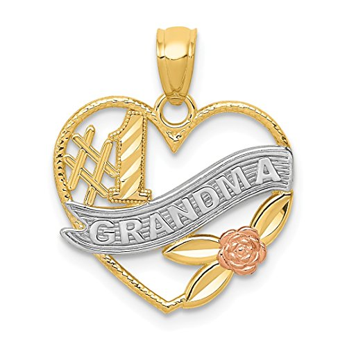 14k Two Tone Yellow Gold #1 Grandma Heart Pendant Charm Necklace Grma Love S/love Message Fine Jewelry Gifts For Women For ()