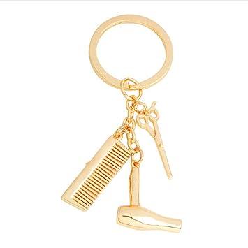 Llavero de aleación con colgante de herramientas para peluquería, secador de pelo, tijeras, llaveros