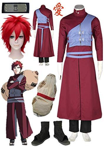Naruto Shippuden Gaara Purple Vest Cosplay Costume Full Set Halloween (Male XS)