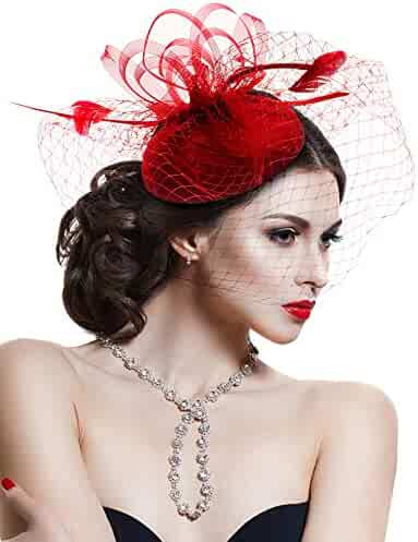 b4ef9d94 Hovivid Fascinator for Women Tea Party Wedding Headband Mesh Feather Flower  Hair Clip