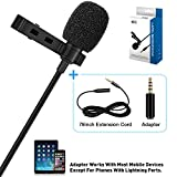 TONOR Lavalier Microphone, Lapel Interview Omnidirectional Condenser Shirt Mic with 2m Extended Wire for iPhone, Android, Other Smartphones and Camera, Perfect for Interview/Youtube/Video Recording