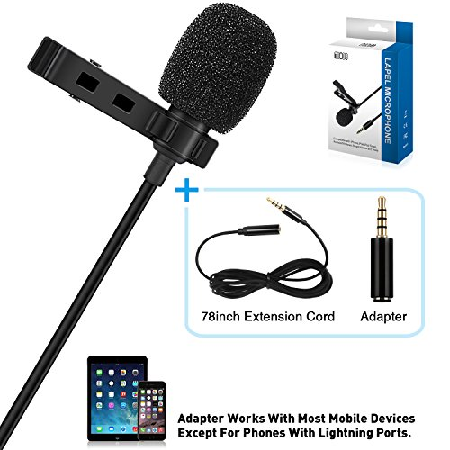 TONOR Lavalier Microphone, Lapel Interview Omnidirectional Condenser Shirt Mic with 2m Extended Wire for iPhone, Android, Other Smartphones and Camera, Perfect for Interview/Youtube/Video Recording by TONOR