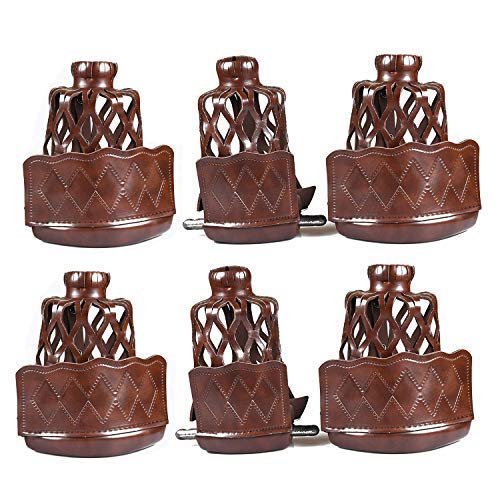 T&R sports PU Leather Pool Table Pockets Set Drop Bag Nets Heavy Duty Billiard Table Web, Pack of 6, Walnut (Pool Table Parts Accessories)