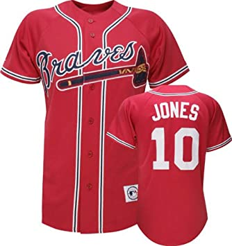 promo code a3482 b5565 Amazon.com : Majestic Chipper Jones Red MLB Away Replica ...