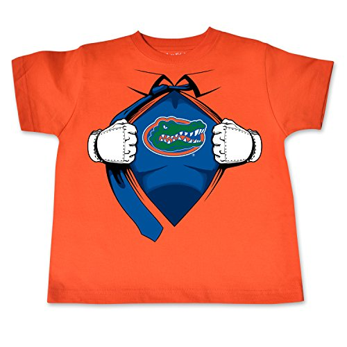 NCAA Florida Gators Toddler Short Sleeve Super Hero Tee, 5/6 Toddler, Orange