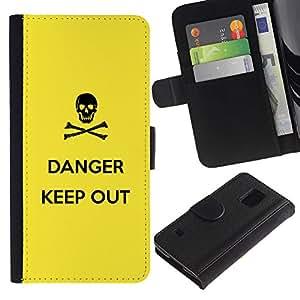 SAMSUNG Galaxy S5 V / i9600 / SM-G900 , la tarjeta de Crédito Slots PU Funda de cuero Monedero caso cubierta de piel ( Danger Sign Symbol Black Skull Yellow)