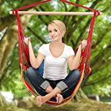 YUEBO Hanging Rope Hammock Chair Porch Swing Seat for Indoor or Outdoor Spaces Max.265 Lbs with One Spreader Bar Red Green