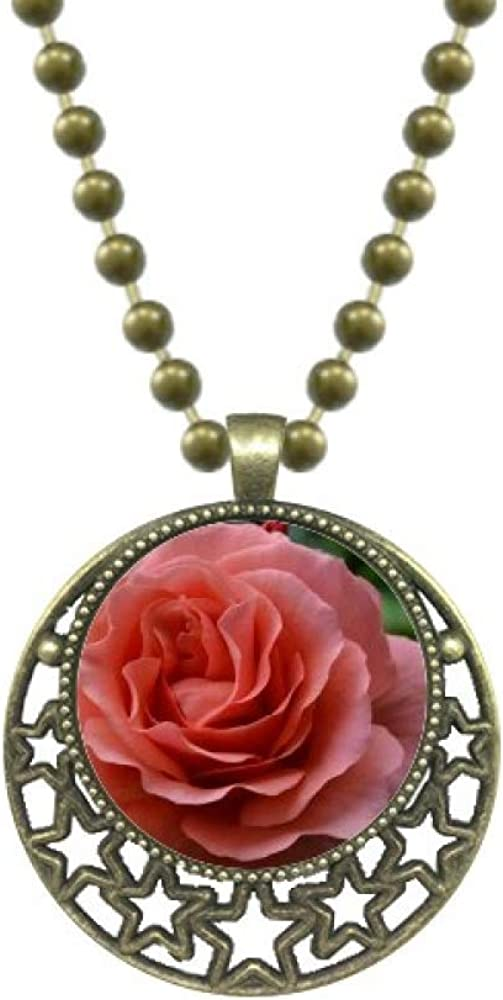 DIYthinker Green Leaves Pink Roses Art Deco Gift Fashion Pendant Star Necklace Moon Chain Jewelry
