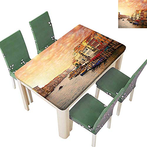 Printsonne Polyester Tablecloth Venezia Italian Landscape with Old Houses Gondollas and Spikes Image Easy Care Spillproof 50 x 102 Inch (Elastic Edge)