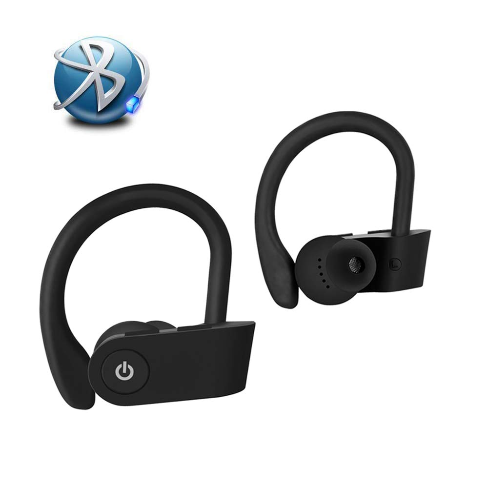 Bluetooth 5.0 Wireless Earbuds, with Wireless IPX5 Waterproof TWS Stereo Headphones in Ear Built in Mic Headset Premium Sound with Deep Bass for Sport iPhone Android Black