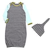 Baby Boy Girl Stripe Long Sleeve Night Gowns Sleeping Bag Pajamas with Hat (NB-6M)