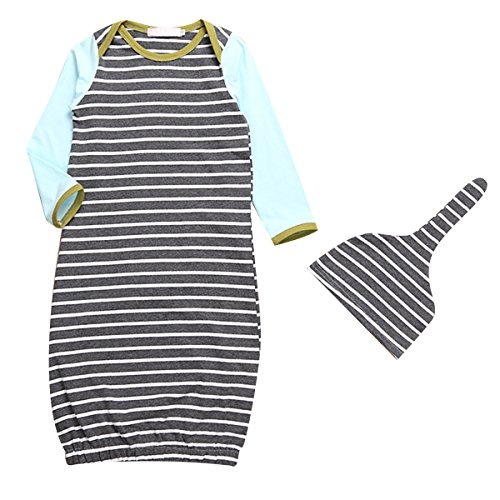6fd389284e Baby Boy Girl Stripe Long Sleeve Night Gowns Sleeping Bag Pajamas with Hat