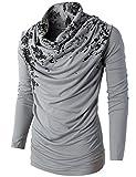 H2H Mens Unique Slim fit Fashionable Designed Shirring Long Sleeve T-shirts GRAY US L/Asia XL (KMTTL0252)