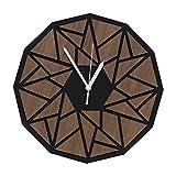 VIXU Reloj Dodecaedro Nogal -Reloj de pared, decoración interior - Madera de nogal -Reloj de Madera geometrico