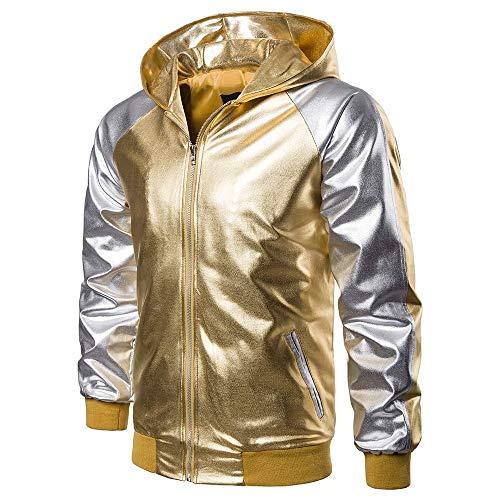 Hot Sale! minRan Fashion Patchwork Metallic Gold Long Sleeve Nightclub Styles Full Zipper Hoodies Sweatshirt