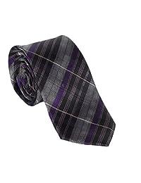 Grey and Black with Purple Stripe Necktie (Mens Adult, Grey)