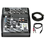 "Behringer (502) XENYX 5-Channel Mixer w/ Pro Audio Bundle Includes, Premier Series XLR 10' Male to XLR Female Cable & 3ft. 1/8"" TRS Male to Two 1/4"" TS Male Cable from Behringer"