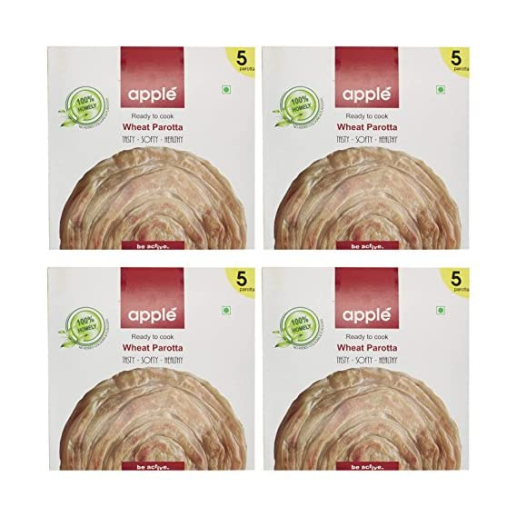 Apple Foods Ready to Cook Wheat Parotta (1500 grams, Pack of 4)
