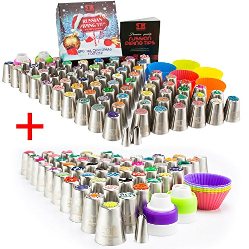 Russian piping tips: 120 nozzles, 3 leaf-tips, 2 single couplers, 2 X 3-color couplers, 5 cleaning brushes, 60 pastry bags, silicone bags, 10 silicone cups, plastic scissors, frosting bags and tips by SLK snow's luxury kitchen