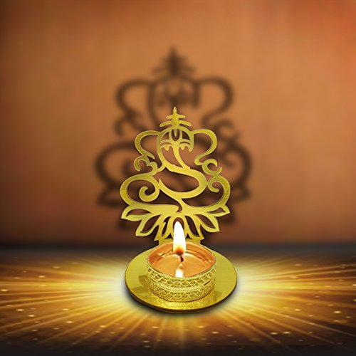 Lord Ganesha ( Ridhi Shidhi) Diwali Shadow Diya. Deepawali Traditional Decorative Diya in Lord Ganesha Shape for Home/Office..Religious Tea Light Candle Holder Stand. Decoration Indian Gifts items