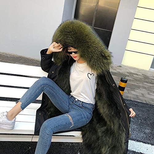 JIANYUXIN Cappotto Parka Giacca Invernale da Donna in Pelle Cappotto Nero Moda Casual Parka Cappotto Spesso Caldo Cappotto di Cappotto Streetwear C12-long-XXL-bust-112cm