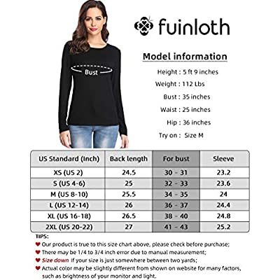 fuinloth Women's Basic Long Sleeve T Shirts, Crewneck Slim Fit Spandex Tops, Plain Layer Underscrub Tees: Clothing