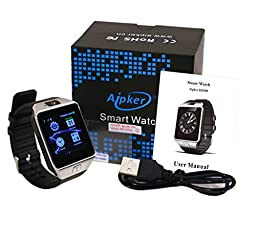 Aipker Smart Watch Bluetooth Smartwatch Phone with Camera SIM SD Card Slot Compatible All Android Smart Phones (Silver)