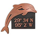 Dolphin Lat Lon Plaque - 13x11 - Raised Copper Metal Coated Sign