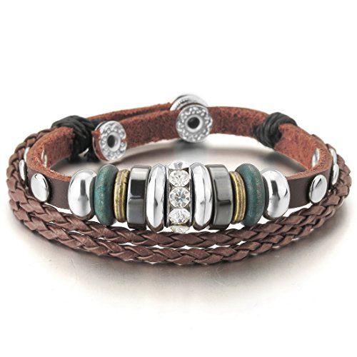- INBLUE Men,Women's Alloy Genuine Leather Bracelet Bangle CZ Brown Adjustable Tribal