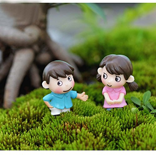LU2000 Bonsai Minifigures Small Size Micro Figurines Statue Shy Couples [Wedding Series] for Micro Landscape Desk Home Garden Aquarium Decoration Little Statue Mini Sclupture
