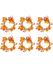 JYCAR 6 Pack Herfst Kaars Ring, Herfst Bloemen Pijler Kaars Ring met Esdoornblad en Pompoen Mini Berry Twig Krans Krans voor Herfst Ready Centerpieces of Boerderij Tafel Decor