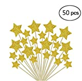 50 Pcs Twinkle Gold Star Cupcake Toppers, DIY Glitter Cake Toppers for Wedding Birthday Baby Shower, Valentine's Day, Snack Decorations Picks Party Suppliers