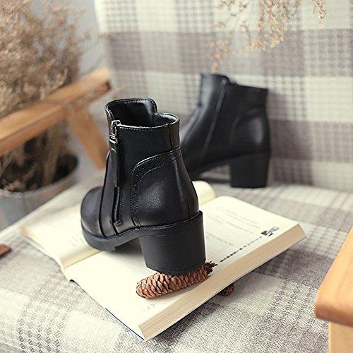 invierno de Ronda botas exterior de Negro Black de botas moda goma Zapatos mujer para Toe pwIE41