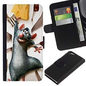 All Phone Most Case / Oferta Especial Cáscara Funda de cuero Monedero Cubierta de proteccion Caso / Wallet Case for Apple Iphone 6 // Rat Rodent Grey Cheese Cartoon Character