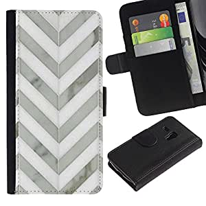 For Samsung Galaxy S3 MINI NOT REGULAR! I8190 I8190N,S-type® Chevron White Gray Metal 3D Pattern - Dibujo PU billetera de cuero Funda Case Caso de la piel de la bolsa protectora